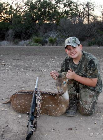 Young Hunter w/ Axis Doe