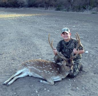 Young Hunter w/ Axis Buck